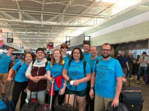 (l to r) Caitlyn Gogan, Zach Gogan, Abby Maston, Sam Maston, Samantha Gogan, Matt Haley, Deb Gogan and Pastor Joe Graumann at the airport before embarking on their trip to Houston. Photo/submitted