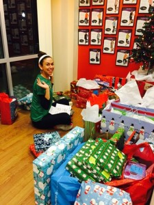 Jody Chaffee, owner of Get in Shape for Women, with gifts donated by members