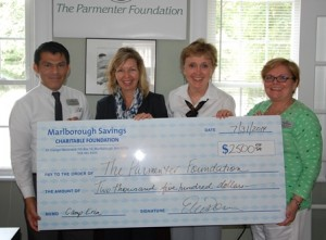 (l to r) Leon Manzon, personal banker; Ellen Dorian, executive vice president - retail banking Marlborough Savings Bank; Cindy Mayher, Parmenter Foundation, executive director; and Donna Driscoll, branch manager, Marlborough Savings Bank. Photo/submitted