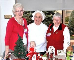 Volunteering at the Marlborough Hospital Auxiliary's annual Holiday Bazaar are members (l to r) Florence Freitas, Barbara Sutherland, president, and Barbara Harrington. Photo/Ed Karvoski Jr.