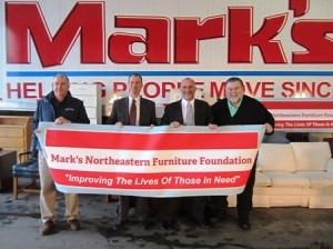 (l to r) - George Jacobs, vice president, Mark's Moving & Storage; Derek Rawls, CPA, MST, director of tax for Gray, Gray & Gray, LLP, and member of the board of directors for Mark's Northeastern Furniture Foundation; Mark Silverman, president and CEO, Mark's Moving & Storage; and Paul L. Mina, president and chief professional officer of the United Way of Tri-County  Photo/Bonnie Adams