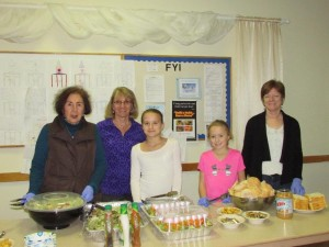 Northborough Community Meal Program volunteers from St. Rose of Lima (l to r) Alice Lotoski, Diane Emig, Anna Haven, Maggie Haven and Carol Pettine are ready to serve the weekly meal at Trinity Church.