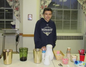 St. Rose of Lima volunteer Nick Carvalho serves coffee and juice to guests at the Northborough Community Meal Program. (Photos/submitted)