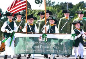 A color guard leads the Middlesex County 4-H Fife and Drum Corps. Photos/Ed Karvoski Jr.