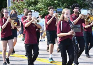 The Algonquin Regional High School Marching Band brings music to the parade route. Photos/Ed Karvoski Jr.