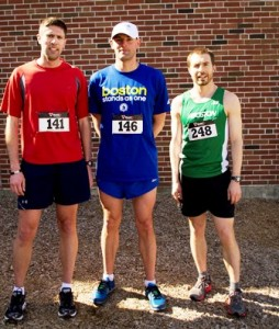 """Chris Benestad (middle) placed first in the """"Northborough Gets Active"""" 5K Road Race and Walk, while Brad Klinedinst (right) came in second and Scott Proulx (left) came in third."""