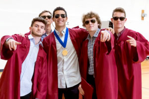 A handful of cool dudes show off prior to the Algonquin Regional graduation ceremony. Photo/Jeff Slovin