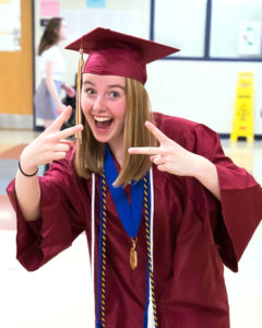 Laura Dunderdale shows her excitement prior to the Algonquin Regional graduation ceremony. Photo/Jeff Slovin