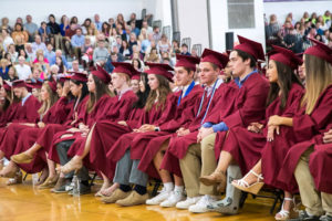 Graduates listen to the speeches during the Algonquin Regional graduation ceremony. Photo/Jeff Slovin