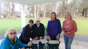 (l to r) Judy Wilson, president of the Northborough Women's Club, Lisa Hodge, chair of the Northborough Community Affairs Committee, Betty Clark, Amy Rogers and Karen Moriarty. Photo submitted