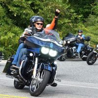 Motorcyclists drive from American Legion Post 234 onto West Main Street. Photos/Ed Karvoski Jr.