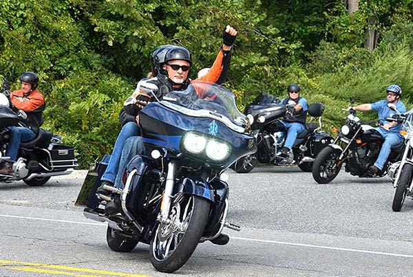 Motorcyclists drive from American Legion Post 234 onto West Main Street. Photos/Ed Karvoski Jr.