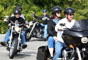 Motorcyclists and passengers begin the approximately 45-mile ride route. Photos/Ed Karvoski Jr.