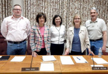 (l to r) Northborough Selectmen Timothy Kaelin, Dawn Rand, Julianne Hirsch, Leslie Rutan and Jason Perreault