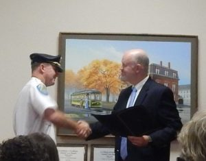 Lt. Joseph Galvin being sworn in by Northborough Town Clerk Andrew Dowd Photo/Melanie Petrucci