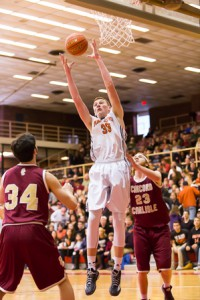 Marlborough's Chris Doherty (#33) grabs a rebound in the Central Mass. Division 2 Finals game against Concord-Carlisle,