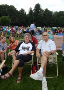 Grafton residents Claire and Fran Budroe (proud parents of the lead singer, Joey Budroe) enjoy front row seats to the concert.