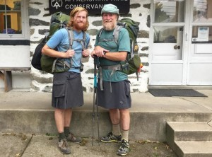 """Ian and George Brenckle at the """"psychological"""" halfway point of the Appalachian Trail in Harpers Ferry, Va."""
