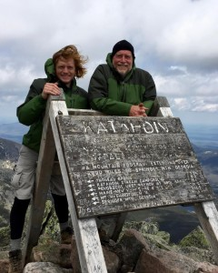 The duo on Mount Katahdin in Maine at the start of the Appalachian Trail May 24.