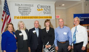 (l to r): Bette O'Reilly, Commerce Bank and chair-elect of Corridor Nine Board of Directors; JoAnn Morency, Commerce Bank (presenting sponsor); John McKenna, Commerce Bank;  Karen Chapman, president of Corridor Nine; Steven August, founder and director of New England Ruffnecks; and Steve Anderson, UniBank and chair, Corridor Nine Board of Directors  Photo/courtesy Ron Bouley, Ron Bouley Photography