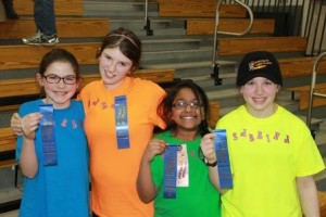 The team from the Marion E. Zeh Elementary School show off their first place ribbons.