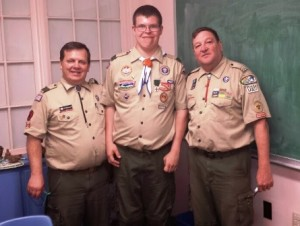 (l to r) Rod Pfannenstiel, Troop 101 committee chair, Eagle Scout Daniel Fitzgerald, and Leo Waible, Troop 101 Scout master