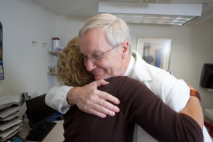 Dr. John Zawacki with a patient at UMass Memorial Medical Center. (Photo/Courtesy of the Schwartz Center for Compassionate Healthcare)