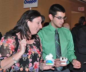 Dottie Tozeski and Jake Mongeau make their own sundaes with ingredients provided by Trombetta Farms.