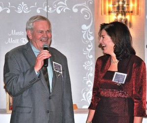 Bob Kays, event chair, is introduced by Susan Gentili, SMOC continuum of care and services.