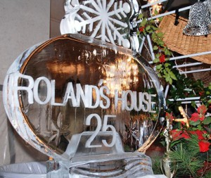 An ice sculpture by Chef Leon Roberge e commemorates the  25th anniversary. of the Evening of Giving to benefit Roland's House