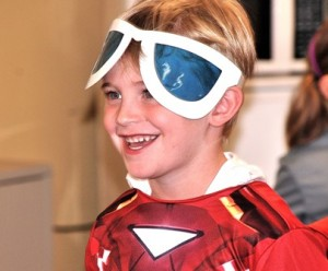 Cooper Vernon, 5, is prepared to challenge villains with his heat-vision goggles.