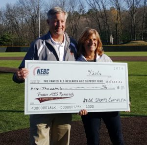 Nancy and John Frates accept a donation from the New England Baseball Club Sports Complex Photo/submitted