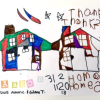 Three out of the four condo units that Habitat is building at the Northborough site will be occupied by local single women with children who are currently living in sub-standard housing. Aaron, one of the women's sons, drew this picture. He hopes to have his own desk in his new home at which to draw more pictures. Photo/submitted
