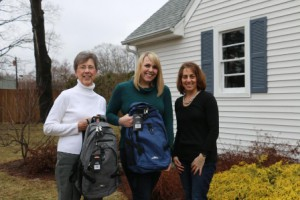 (l to r)  Northborough Helping Hands President Jane O'Toole, Staples, Inc. employee Julie Krause, and Backpack Drive Coordinator Liz Nolan. (Photo/Laurie Covino)