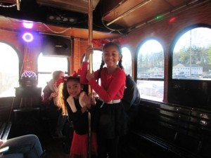 Gianna and Gabriella Boyers enjoy the ride.