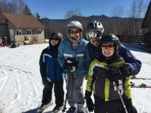 (l to r) Andrew, Debra, Ken, and Ryan Roberts participating in the Waterville Valley Adaptive Ski Weekend Photo/Dean Haymes