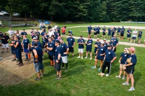 Softball teams gathered at Memorial Field in this photo taken at last year's event.  (Photo/Community Advocate files)
