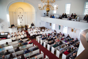 Northborough residents attend the 250th anniversary celebration at the First Parish Church Unitarian Universalist.
