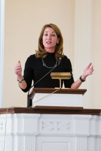 Lt. Governor Karyn Polito addresses the Northborough 250th anniversary celebration.