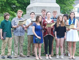 "The Algonquin Regional High School Chamber Choir sings ""Battle Hymn of the Republic"" at the Civil War Monument."