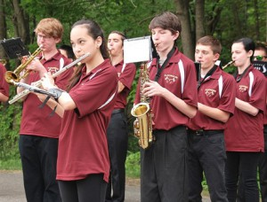 """Members of the Algonquin Regional High School Marching Band play """"The Star-Spangled Banner."""""""