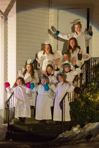 Angels make their appearance during the Church of the Nativity's  presentation. Photo/Jeff Slovin