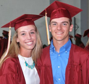 Kendyl Finelli and Eric Hart wait together for the ceremony to begin.