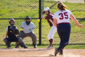 Westborough's Vicky Zechello pitches to Algonquin's Baylee Burns