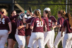 Algonquin softball players celebrate their win over Westborough