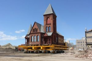 Relocation of the French Congregational Church April 2016. Photo/Courtesy Wolfe House & Building Movers