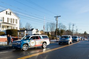 The Wreaths Across America convoy arrives at the Vincent F. Picard American Legion Post 234.