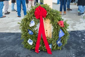 A wreath decorates the entranceway to the Vincent F. Picard American Legion Post 234.