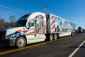 The Wreaths Across America convoy leaves the Vincent F. Picard American Legion Post 234 en-route to their next destination.