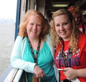 Enjoying a cruise in New York City are Cynthia Panzera and her daughter, Samantha, who received an all-expense paid trip as the grand prize winner of the 2013 Massachusetts Art Education Association's competition at the Worcester Art Museum. Photo/submitted